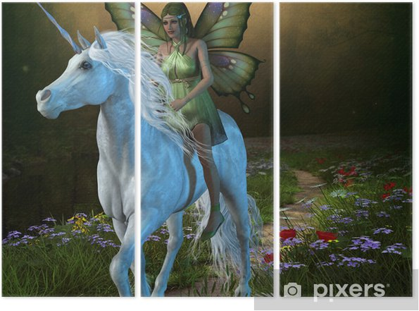Tryptyk Las Fairy i Unicorn -