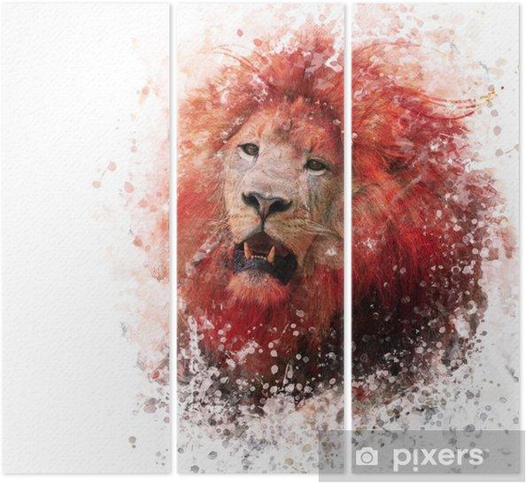 Tryptyk Lion Head akwarela - Zwierzęta