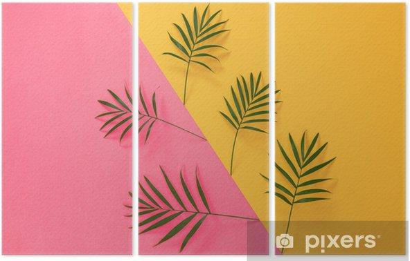 Tryptyk Liści palmowych na żywe różowe i żółte tło - Rośliny i kwiaty