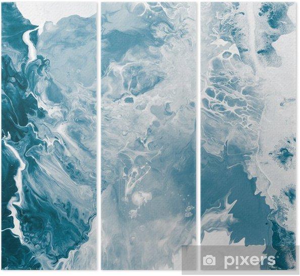 Tryptyk Niebieski tekstury marmuru -