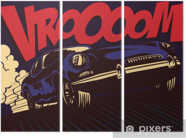 Tryptyk Styl komiksu pop-art szybko sport sportowy jazdy na pełnych obrotach z vomatoom onomatopei projekt plakatu ilustracji wektorowych - Transport