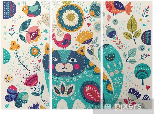 Tryptyk Wektor kolorowych ilustracji z pięknych kotów, ptaków, motyli i kwiatów - Zwierzęta