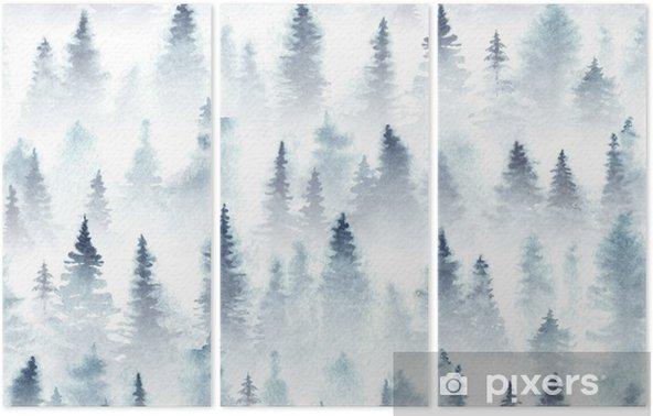 Tryptyk Wzór akwarela świerkowy las we mgle. - Krajobrazy