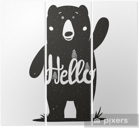 Tryptyk Zabawna ilustracji wektorowych z cute Niedźwiedź i oznaczeniem słowem - cześć. - Zwierzęta