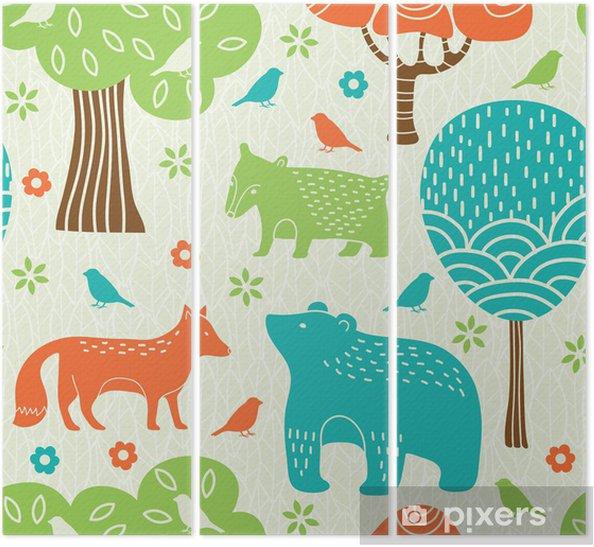 Tryptyk Zwierzęta leśne powtarzalne - Style