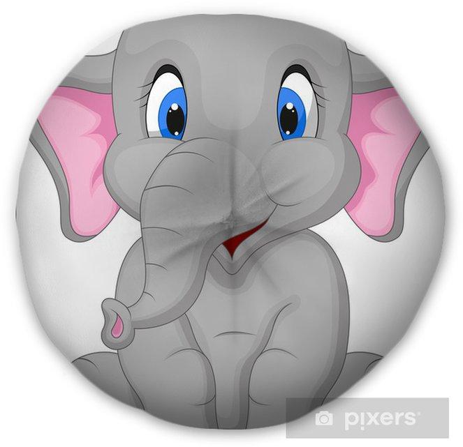 Cute Elephant Cartoon Sitting Tufted Floor Pillow