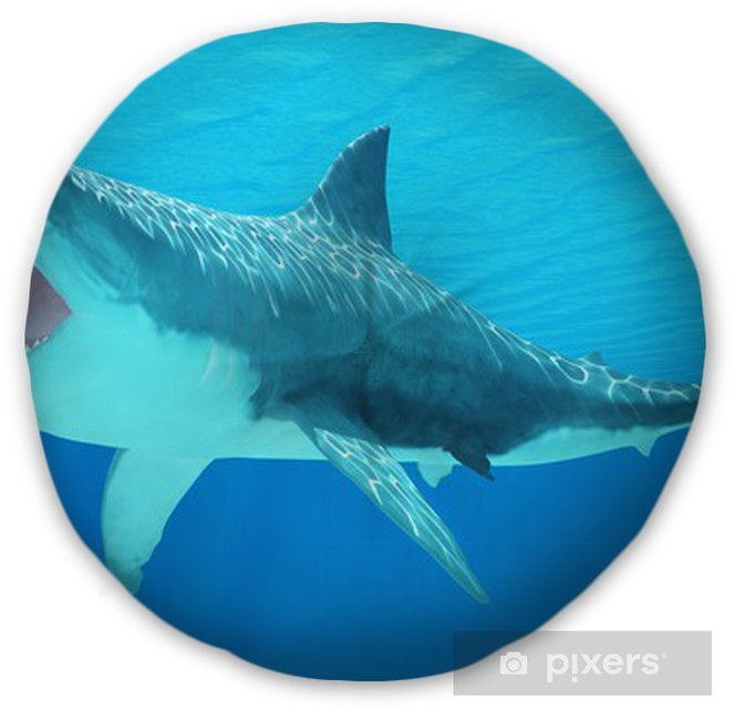 5cced8677e72 Great White Shark Underwater Tufted Floor Pillow - Round - Aquatic and  Marine Life