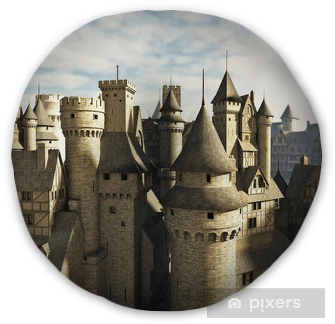 Medieval or fantasy town rooftops Tufted Floor Pillow - Round