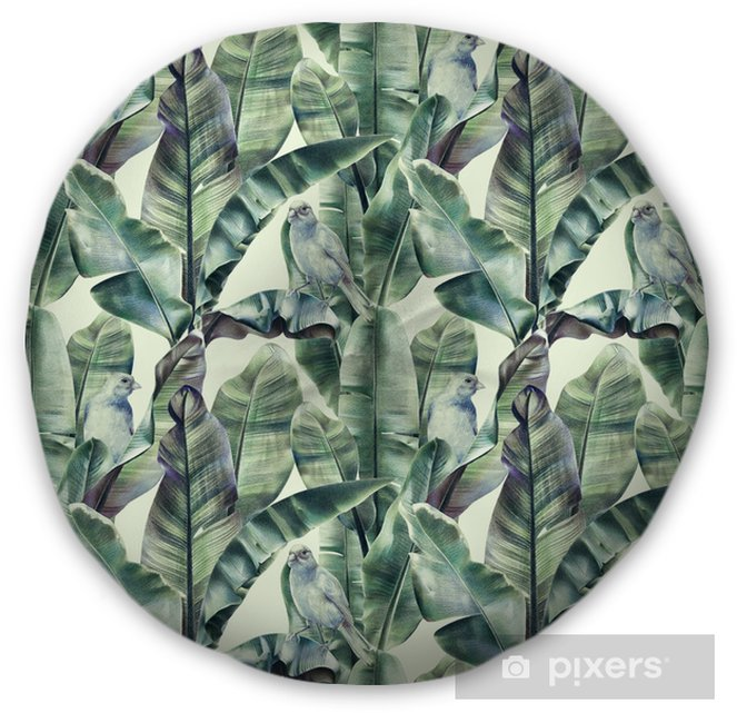 Seamless pattern with banana leaves and exotic birds on a gentle beige background. Tropical background in tinted green colors for fabrics, wallpapers, textiles. Illustration with colored pencils. Tufted Floor Pillow - Round - Animals