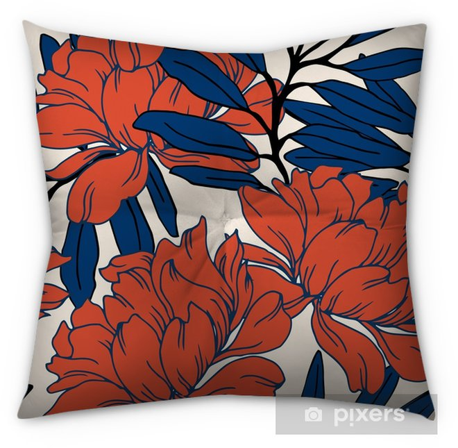 Abstract elegance pattern with floral background. Tufted Floor Pillow - Square - Plants and Flowers