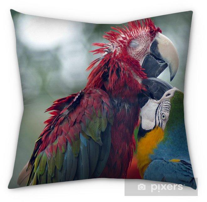 Playful Parrots Tufted Floor Pillow