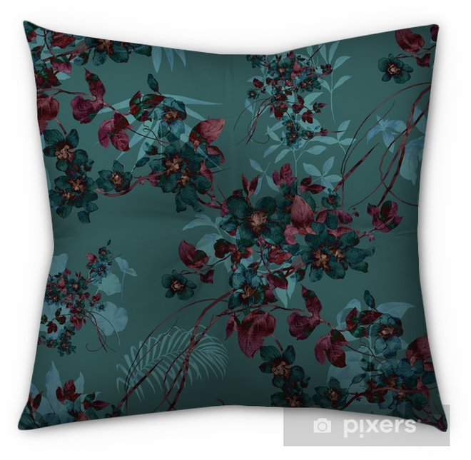 Watercolor painting of leaf and flowers, seamless pattern Tufted Floor Pillow - Square - Hobbies and Leisure