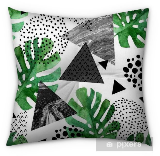 watercolor tropical leaves and textured triangles background Tufted Floor Pillow - Square - Graphic Resources