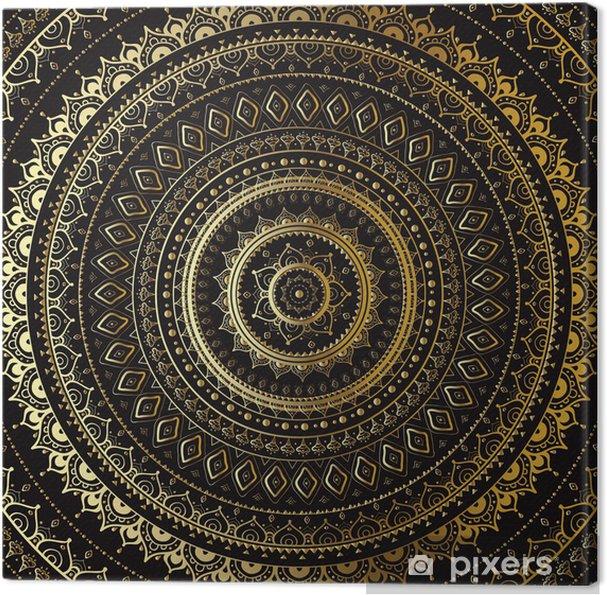 Tuval Baskı Altın Mandala. Hint dekoratif desen. -