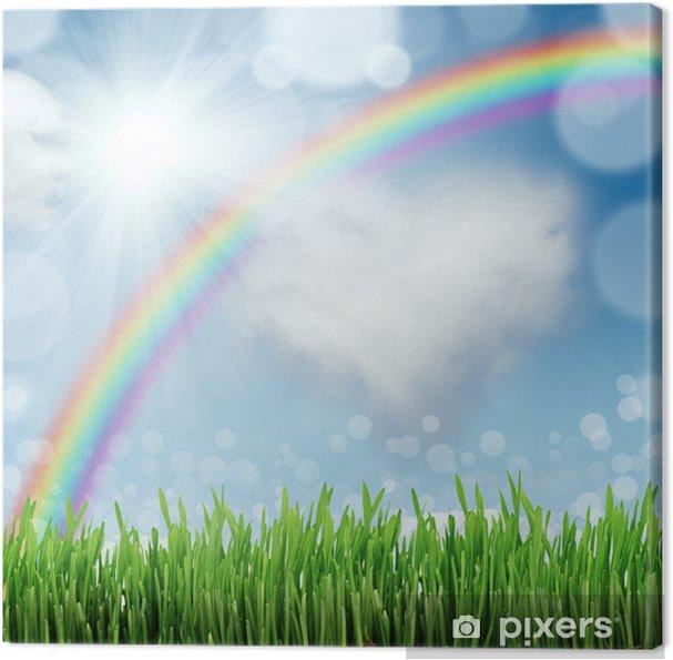 Arka çim Ve Mavi Gökyüzü Ile Bahar Doğa Arka Plan Tuval Baskı