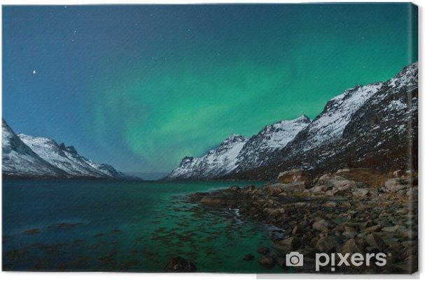 Tuval Baskı Aurora Boarealis okyanusta yansıyan -