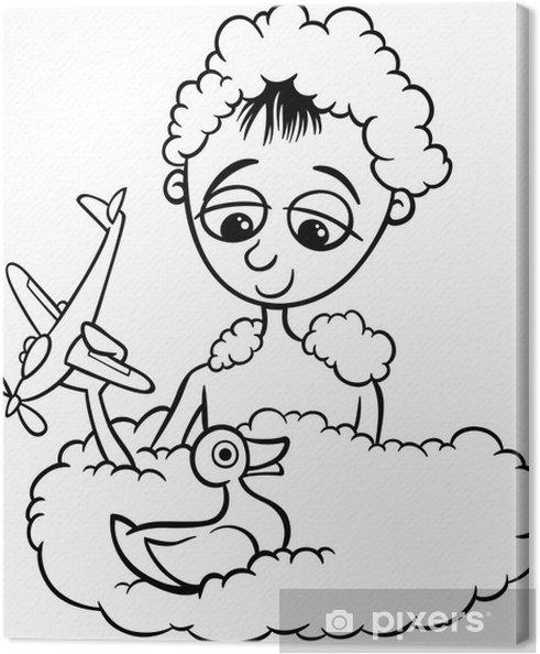 Banyo Boyama Sevimli Küçük çocuk Tuval Baskı Pixers Haydi