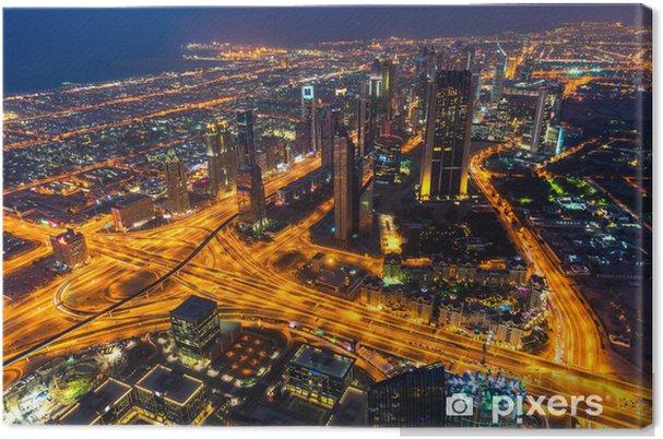 Tuval Baskı Batarken Dubai silueti - Asya