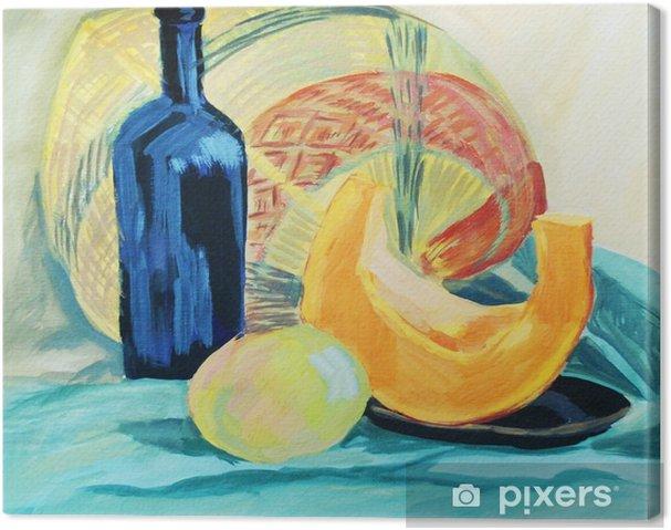 Tuval Baskı Bir şişe şarap ve perdelik zemin üzerine taze sebze - Hobi ve eğlence