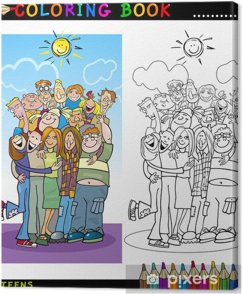 Boyama Için Mutlu Gençler Grup Tuval Baskı Pixers Haydi