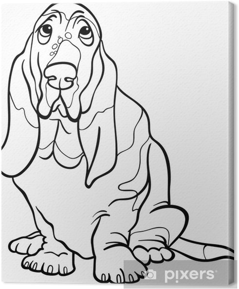 Boyama Kitabi Icin Basset Av Kopegi Karikatur Tuval Baski Pixers