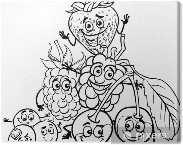 Boyama Kitabı Için Berry Meyveleri Karikatür Tuval Baskı Pixers