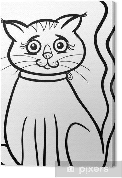 Boyama Kitabı Için Dişi Kedi Karikatür Tuval Baskı Pixers Haydi