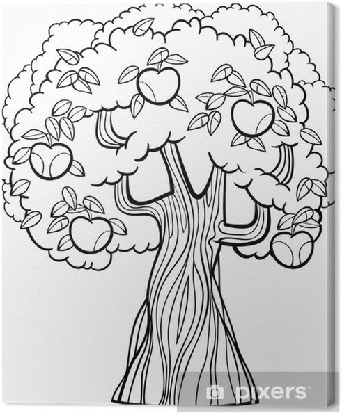 Boyama Kitabı Için Elma Ağacı Karikatür Tuval Baskı Pixers