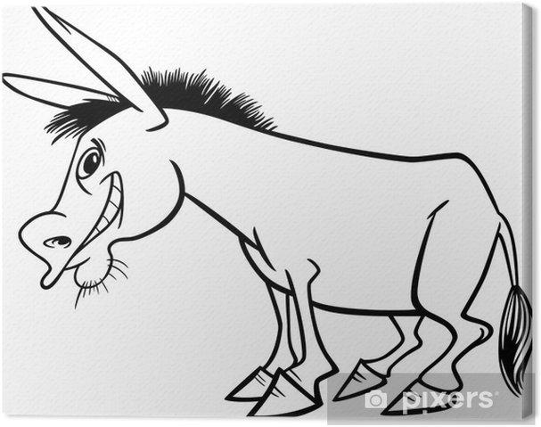 Boyama Kitabı Için Karikatür Eşek Tuval Baskı Pixers Haydi