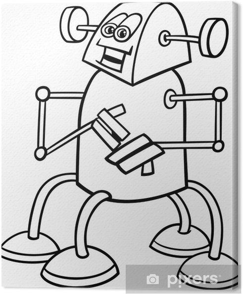 Boyama Kitabı Için Karikatür Robot Tuval Baskı Pixers Haydi