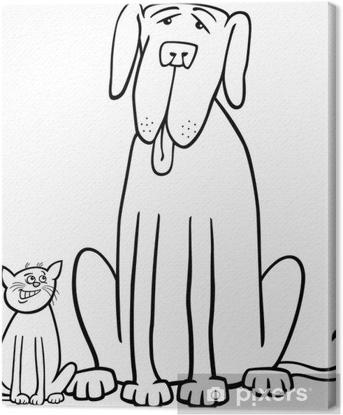 Boyama Kitabı Için Kedi Ve Köpek Karikatür Tuval Baskı Pixers