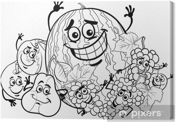 Boyama Kitabi Icin Meyve Grubu Karikatur Tuval Baski Pixers