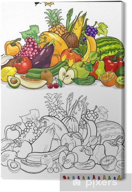 Boyama Kitabi Icin Meyve Ve Sebze Tuval Baski Pixers Haydi