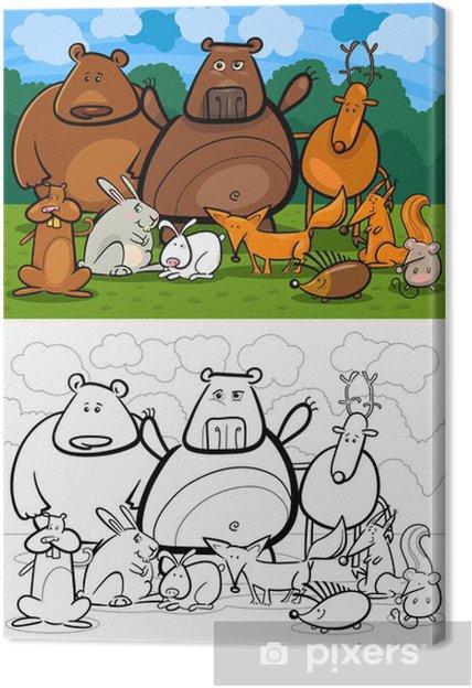 Boyama Kitabi Icin Orman Yaban Hayvanlari Karikatur Tuval Baski