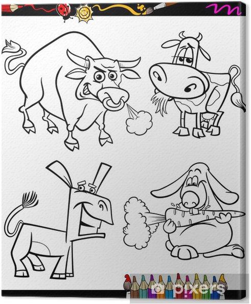 çiftlik Hayvanları Set Karikatür Boyama Kitabı Tuval Baskı Pixers