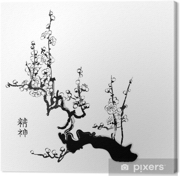 çince Siyah Ve Beyaz Suluboya Tarzı Sakura Boyama Tuval Baskı