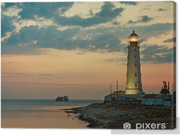 Tuval Baskı Deniz kıyısında eski deniz feneri, Tarkhankut, Kırım, Ukrayna - Altyapı
