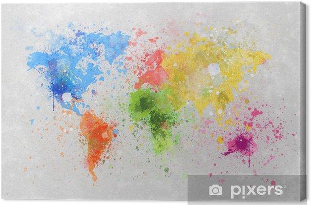 Tuval Baskı Dünya haritası boyama -