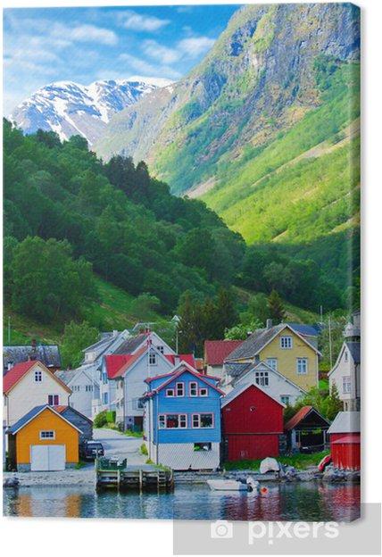 Tuval Baskı Geiranger Fiyordu, Norveç dağlarında Köy ve Deniz manzarası - Avrupa
