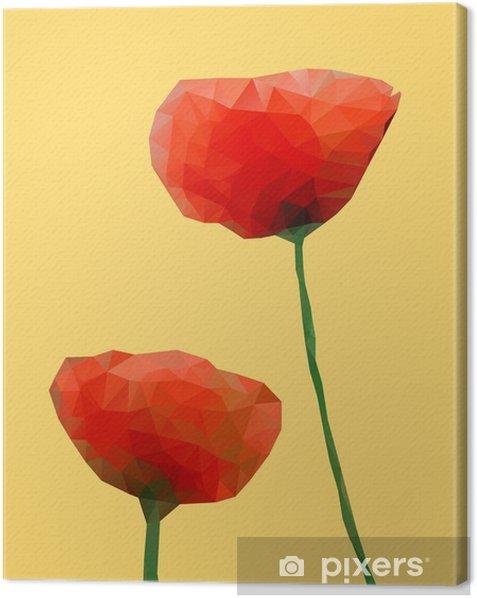 Tuval Baskı Geometrik Haşhaş çiçeği - Çiçekler