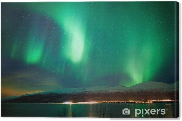 Tuval Baskı Gökyüzünde yeşil aurora borealis dans -