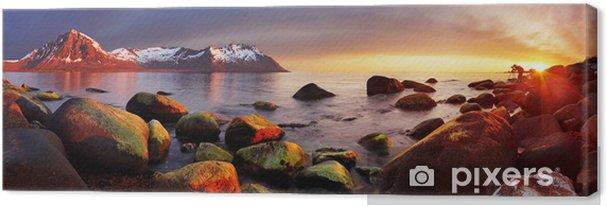 Tuval Baskı Gün batımı, panorama, Norveç okyanus kıyısı -