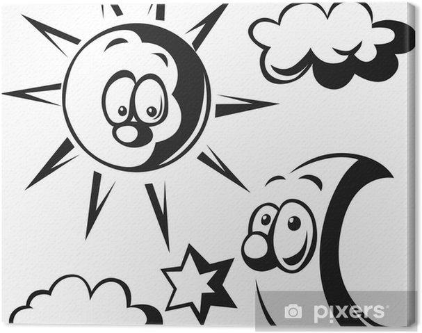 Gunes Ay Bulut Ve Yildiz Siyah Anahat Illustrasyon Tuval Baski