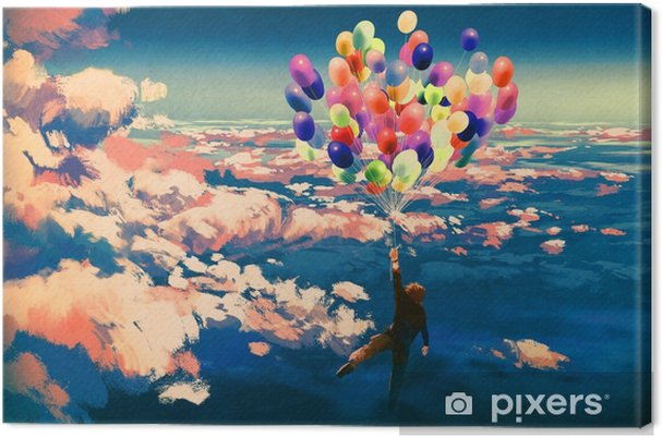 Güzel Bulutlu Gökyüzü Resimde Boyama Renkli Balonlarla Uçan Adam