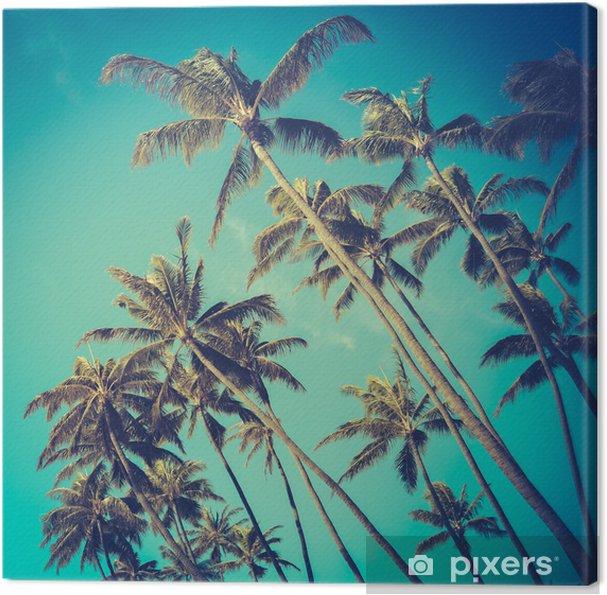 Tuval Baskı Hawaii Retro Çapraz Palmiye Ağaçları -