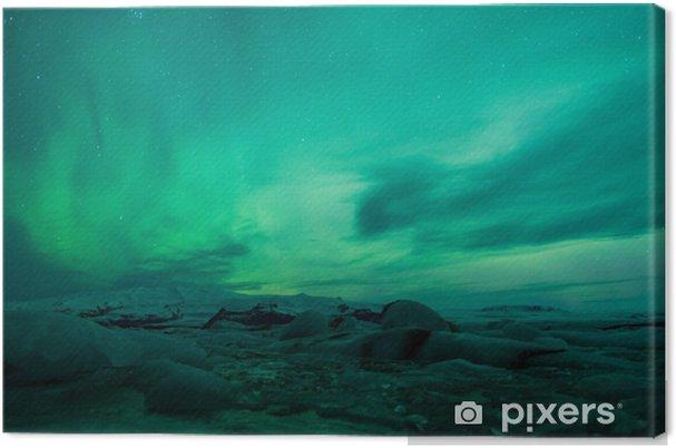 Tuval Baskı İzlanda lagün üzerinde kuzey ışıkları -