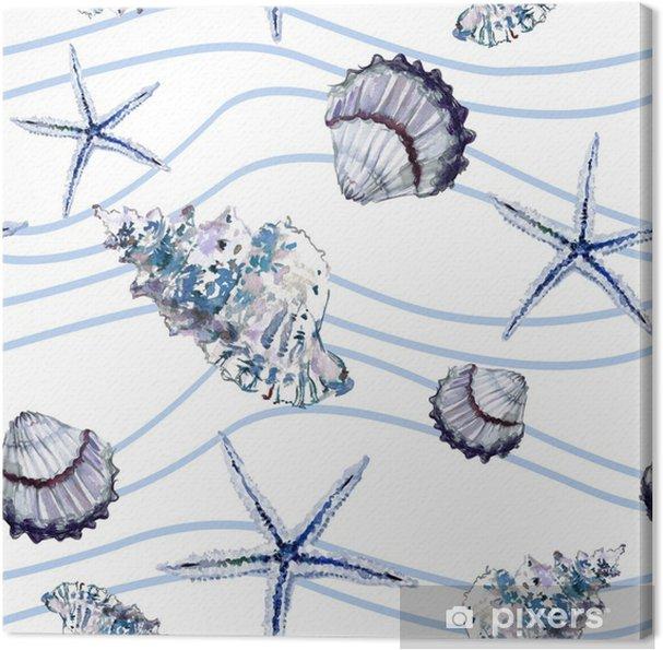 Kabuklari Denizyildizi Ve Mavi Dalgali Cizgilerle Beyaz Arka Plan