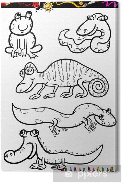 Karikatur Hayvanlar Boyama Kitabi Icin Belirlenen Tuval Baski