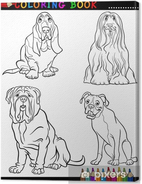 Karikatür Köpekler Boyama Sayfa Safkan Tuval Baskı Pixers Haydi