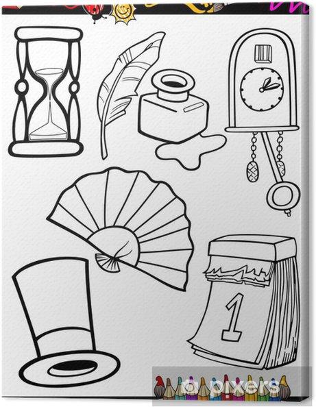 Tuval Baskı Karikatür Retro Boyama Nesneleri